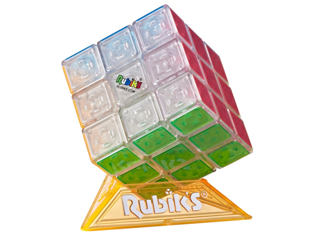 rubik's cube in yellow stand