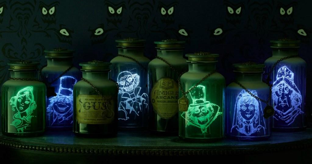 row of Haunted Mansion Jars