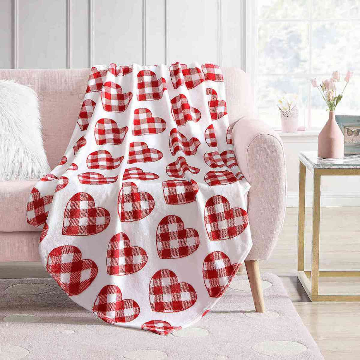 Heart Throw Blanket on couch