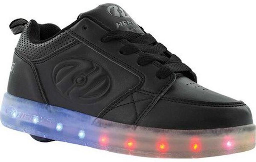 black pair of Heelys Kids' Premium 1 Lo Light Up Sneaker