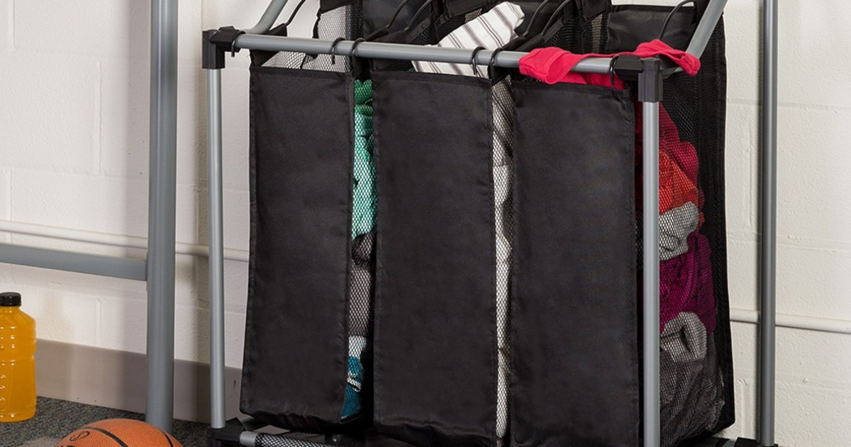 laundry sorter with clothes in it