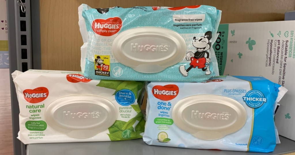 baby wipes on store shelf
