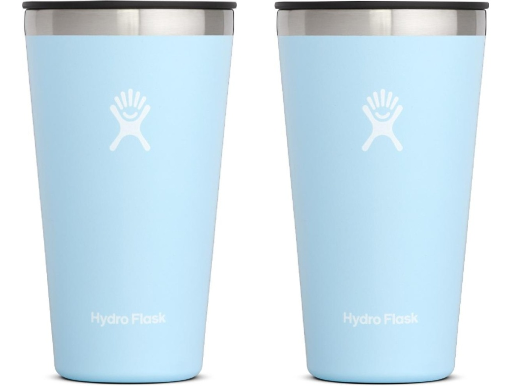two light blue insulated cups