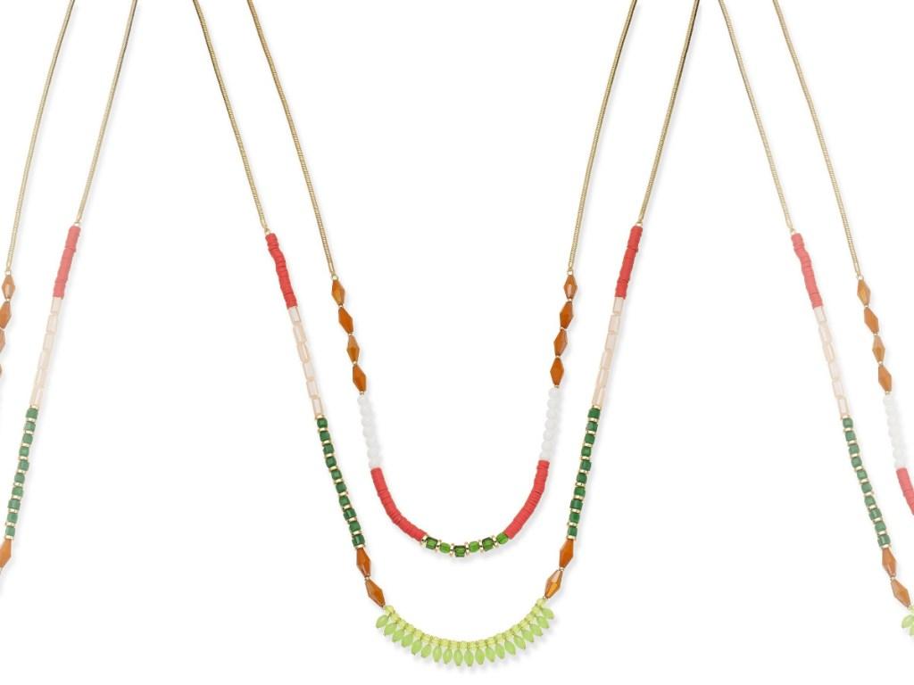 INC Gold-Tone Multi-Bead Double Row Necklace