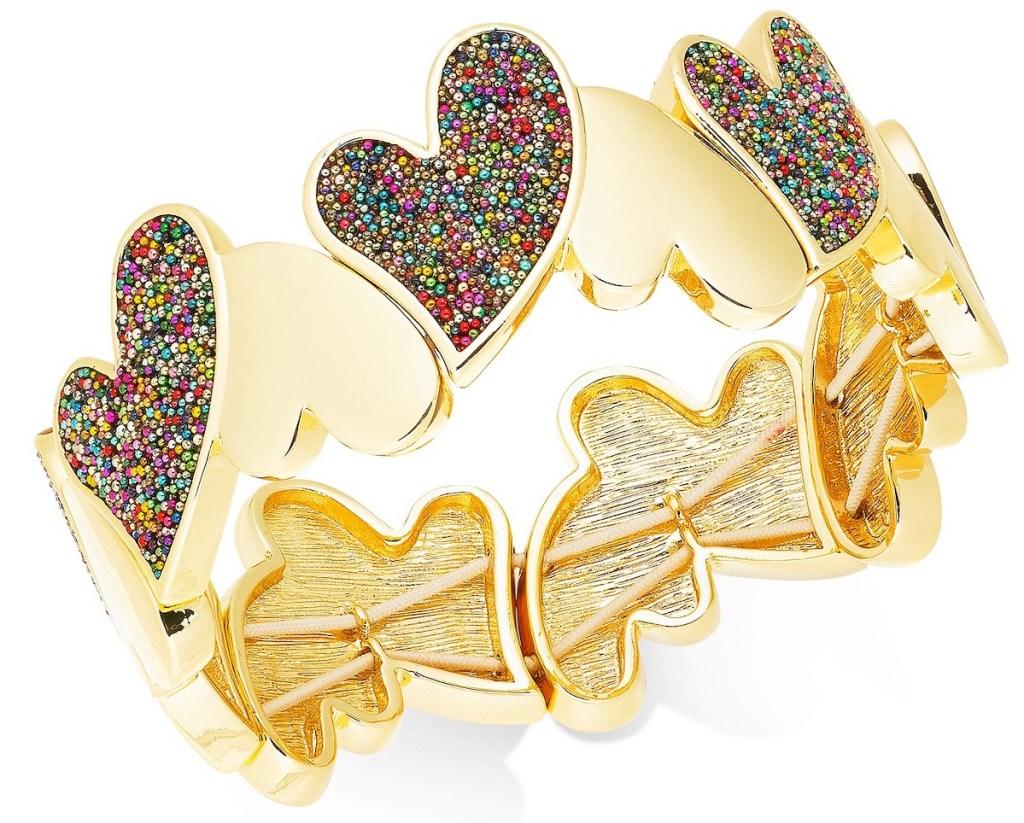 INC Gold-Tone Multi-Bead Heart Stretch Bracelet