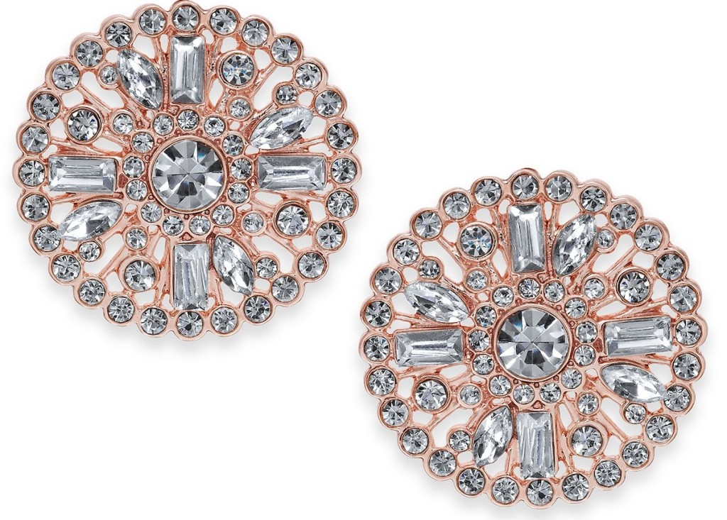 pair of INC Rose Gold-Tone Crystal Cluster Stud Earrings