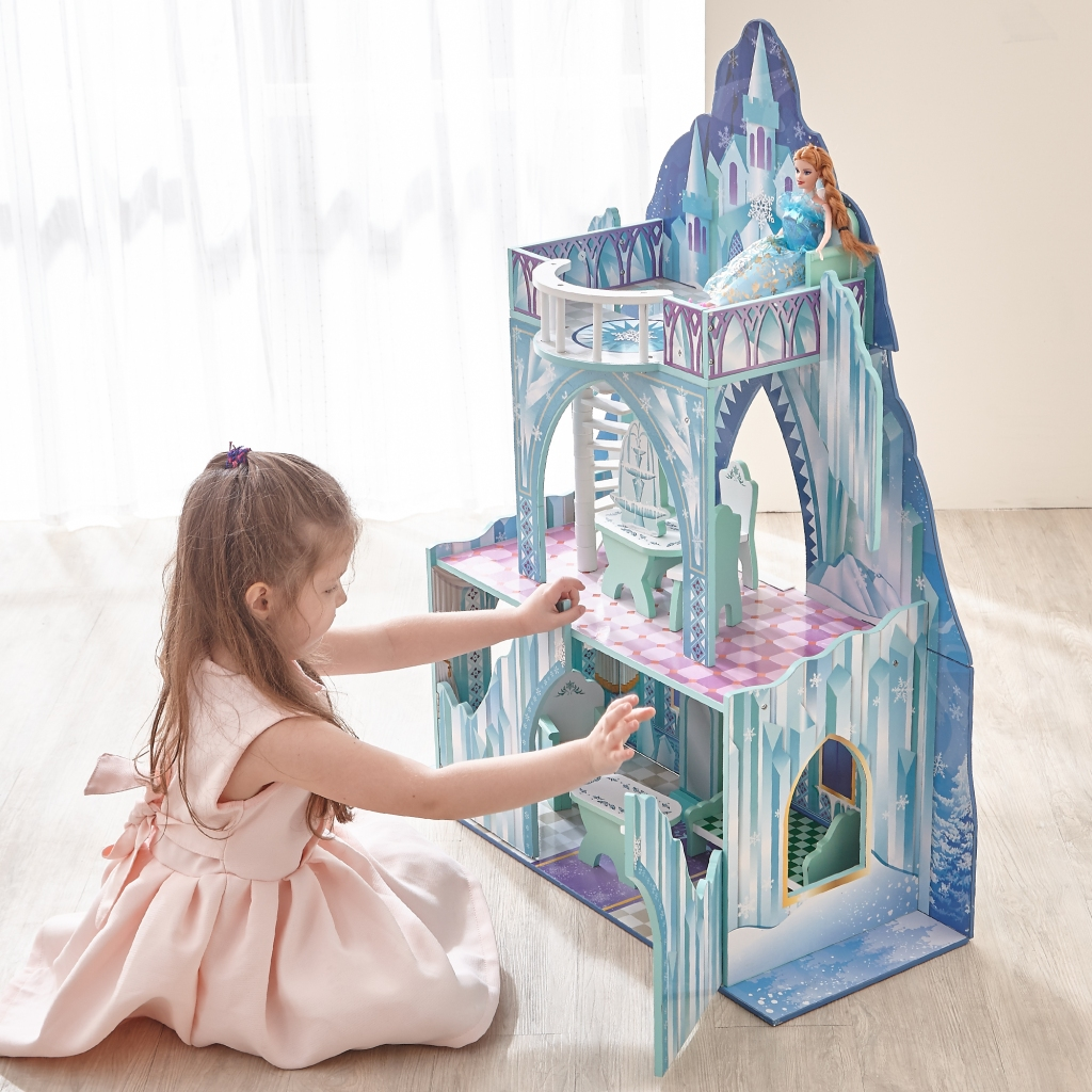 Girl playing with ice castle