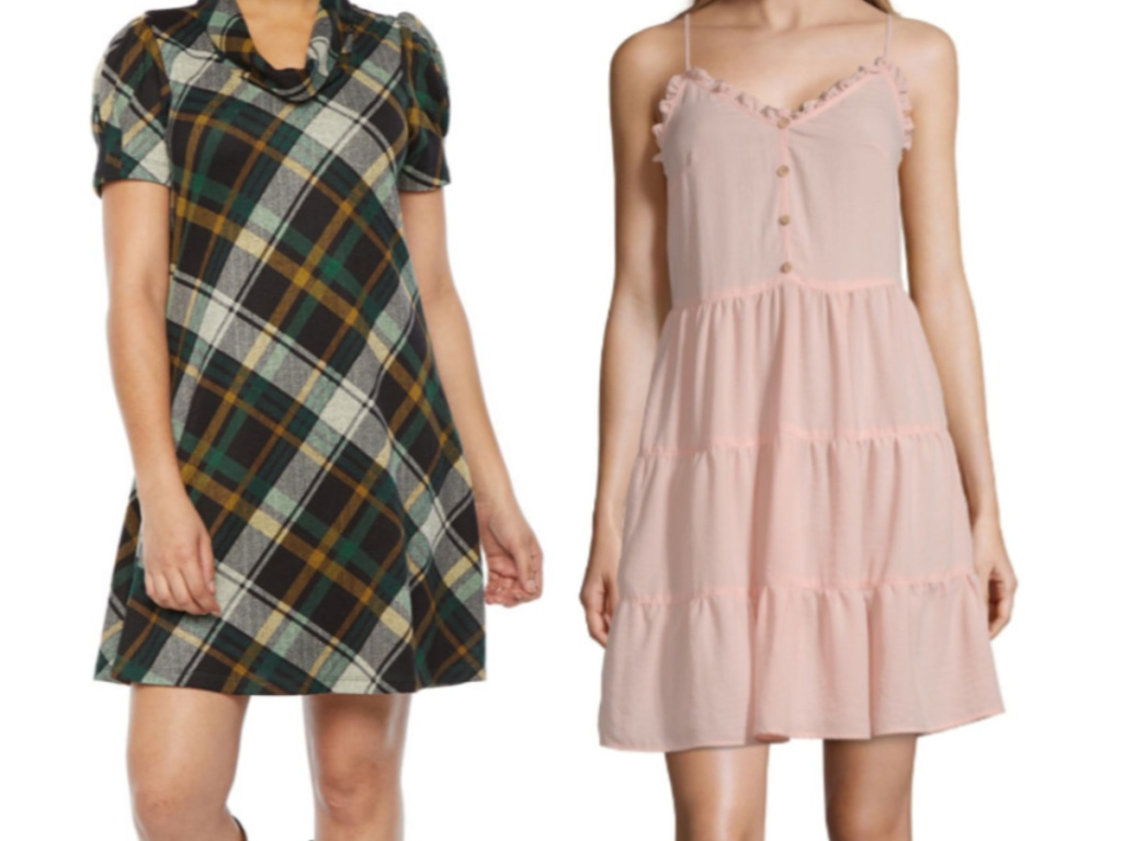 woman in green plaid dress and woman in light pink summer dress