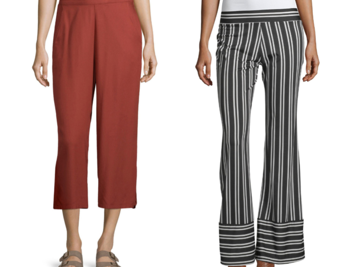 woman in red capri pants and woman in red and black striped flared pants