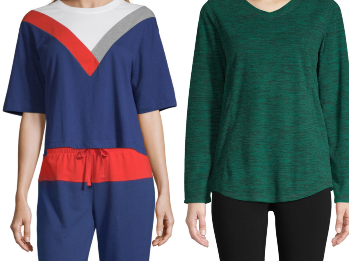 women in blue, red, white, and gray top and woman in green long-sleeve top