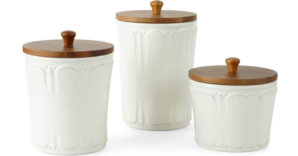 set of three white canisters