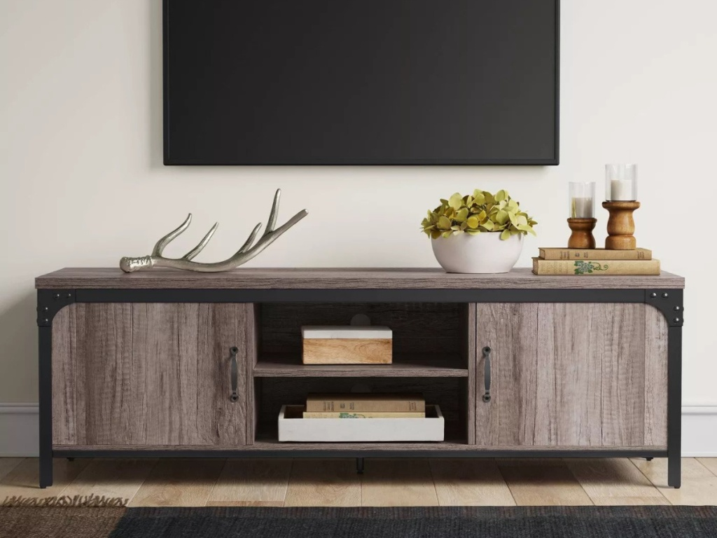 Jackman Industrial Wood Media Stand with Storage Brown - Threshold™