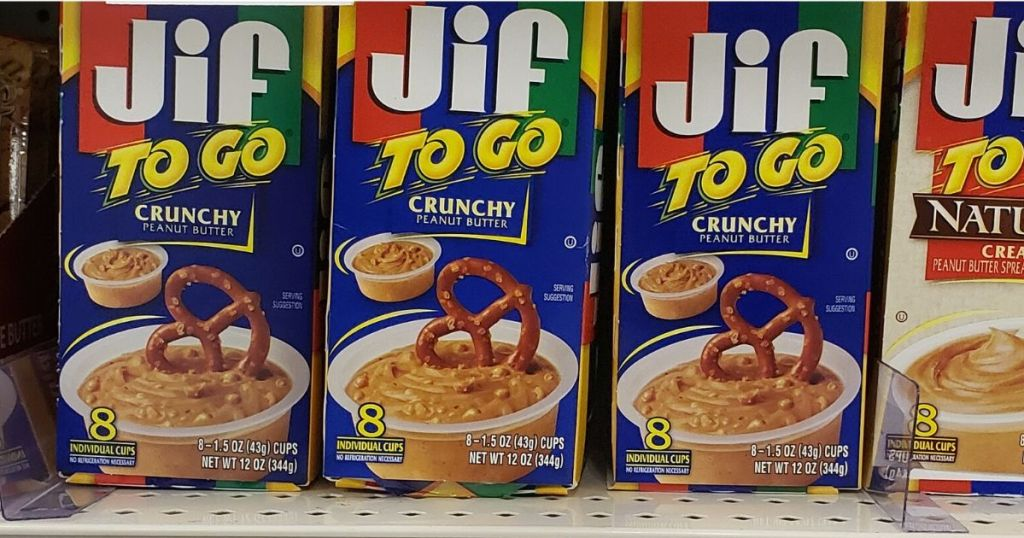 Jif To Go Crunch Peanut Butter boxes on shelf at store