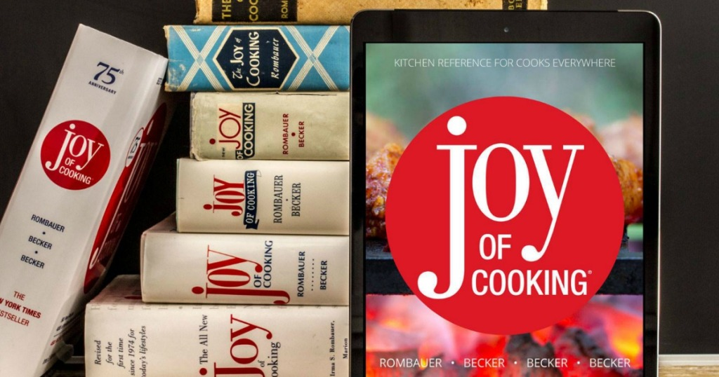 joy of cooking books next to tablet with ebook displayed