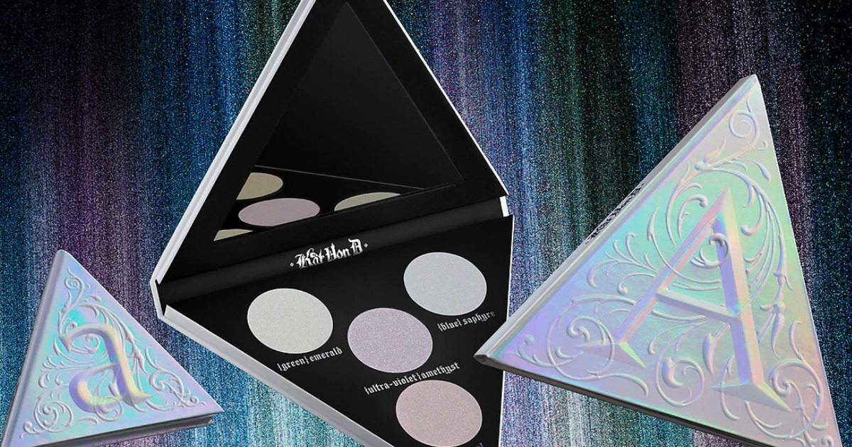 a variety of sizes of holographic eye shadow palettes