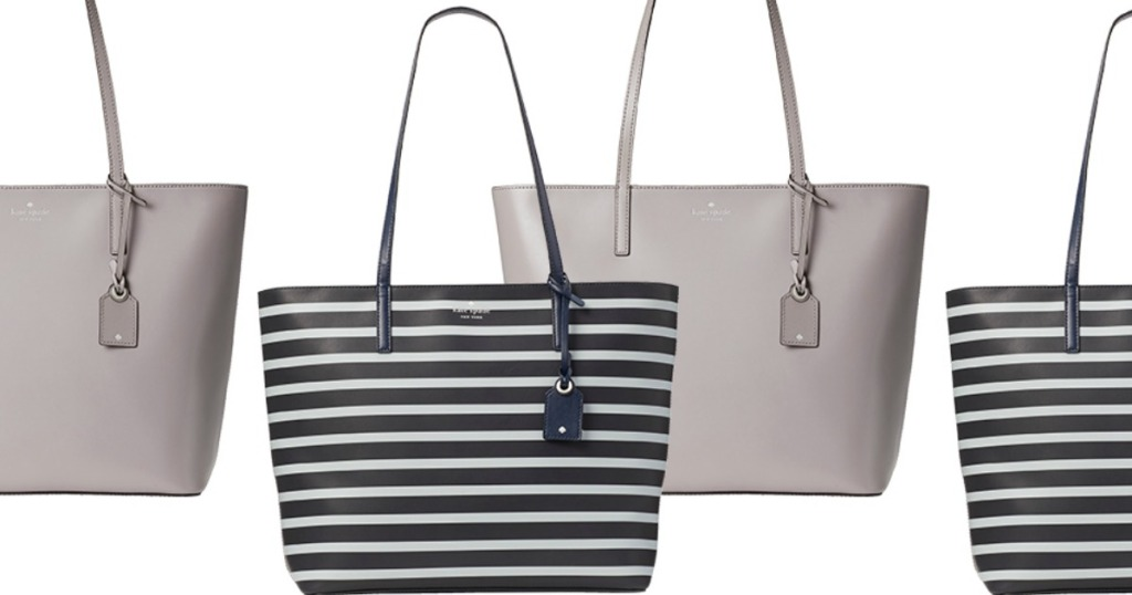 large kate spade bags in taupe and black and white stripes