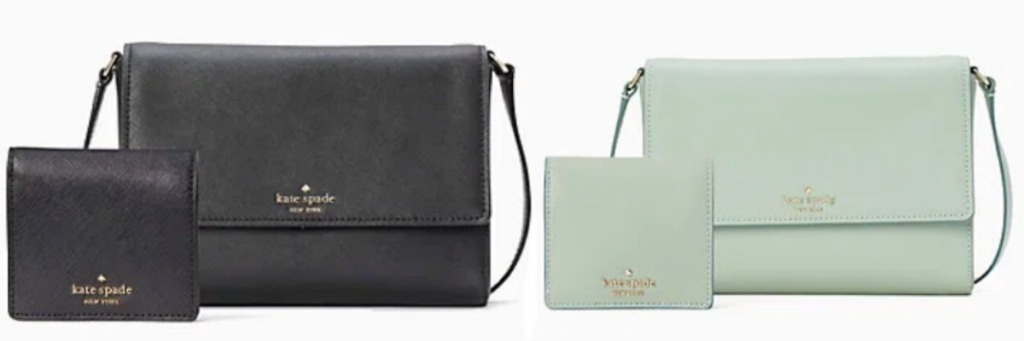 Kate Spade purse and wallet in green and black