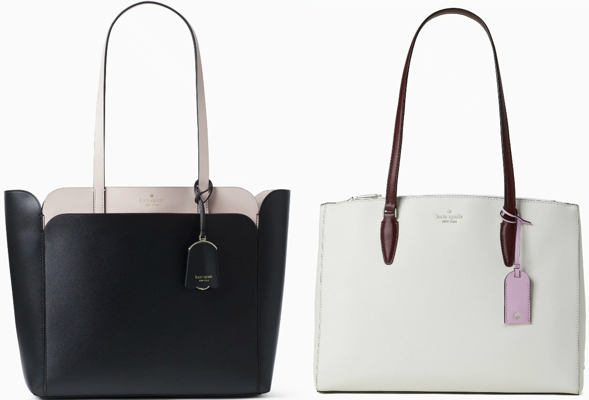 Two styles of large tote bags - in black and pearl white