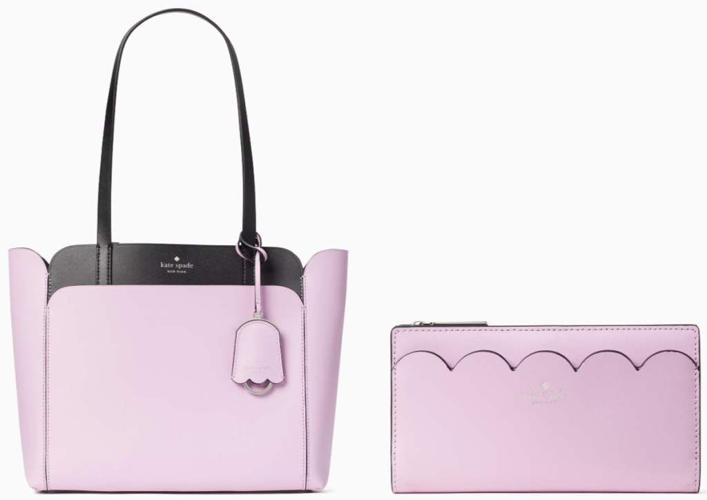pink and black kate spade tote and pink wallet