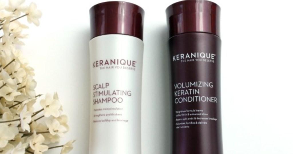 keratine shampoo and conditioner bottles