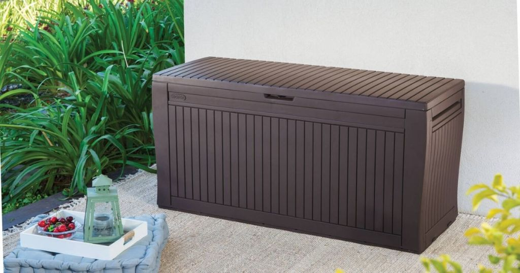 patio with large plastic storage box