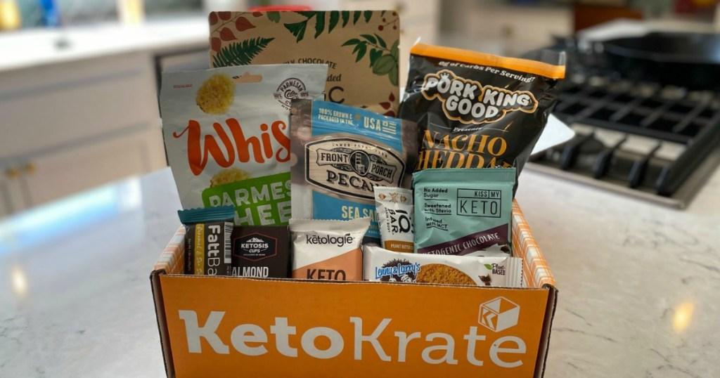 box of keto snacks