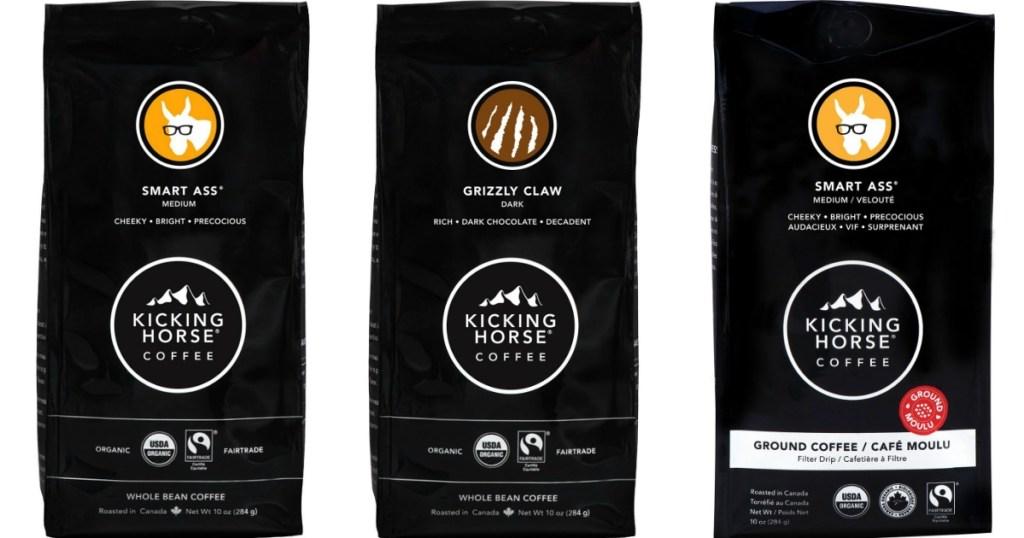 three Kicking Horse Coffees