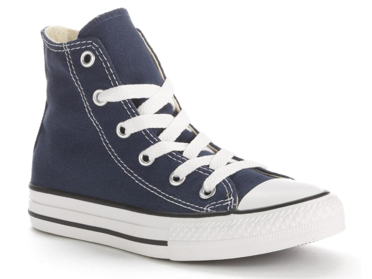 blue kids high top shoe
