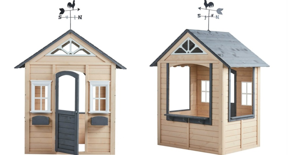 two images of a kids outdoor house