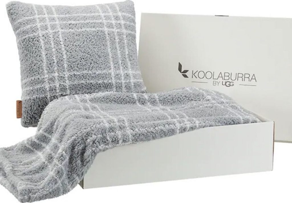 box with sherpa plush blanket and matching pillow