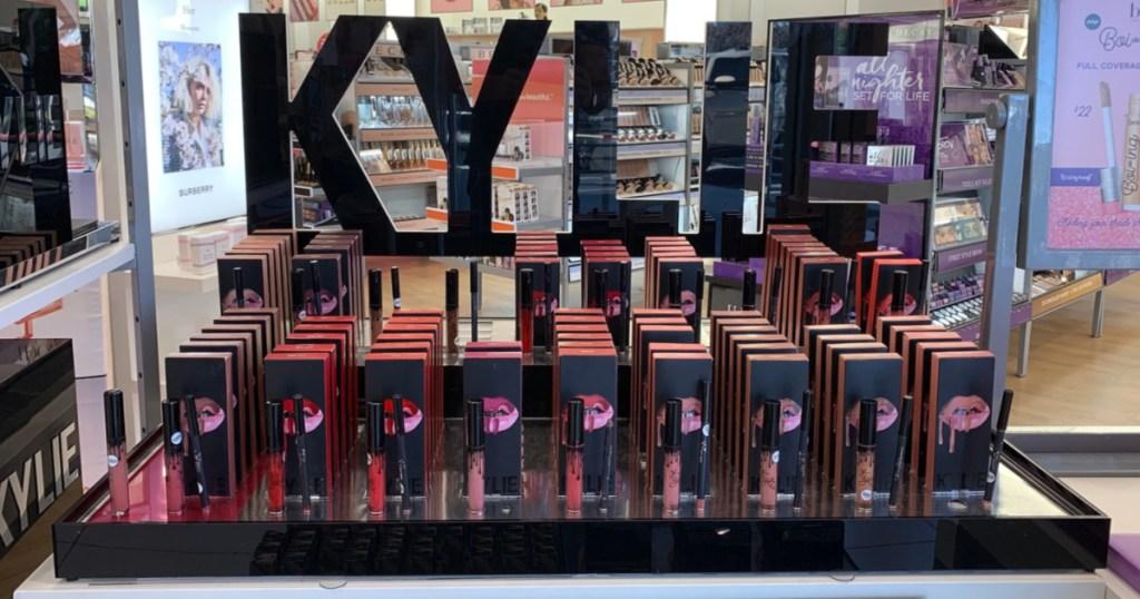 lipsticks display in store window