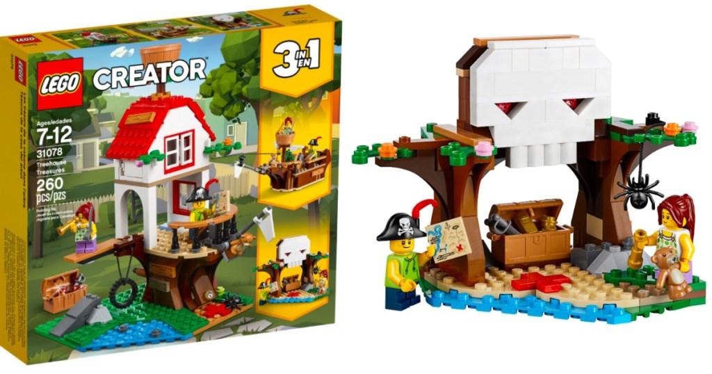 LEGO CREATOR TREEHOUSE BOX AND LEGO BLOCKS