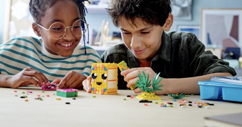 Kids playing with LEGO dots