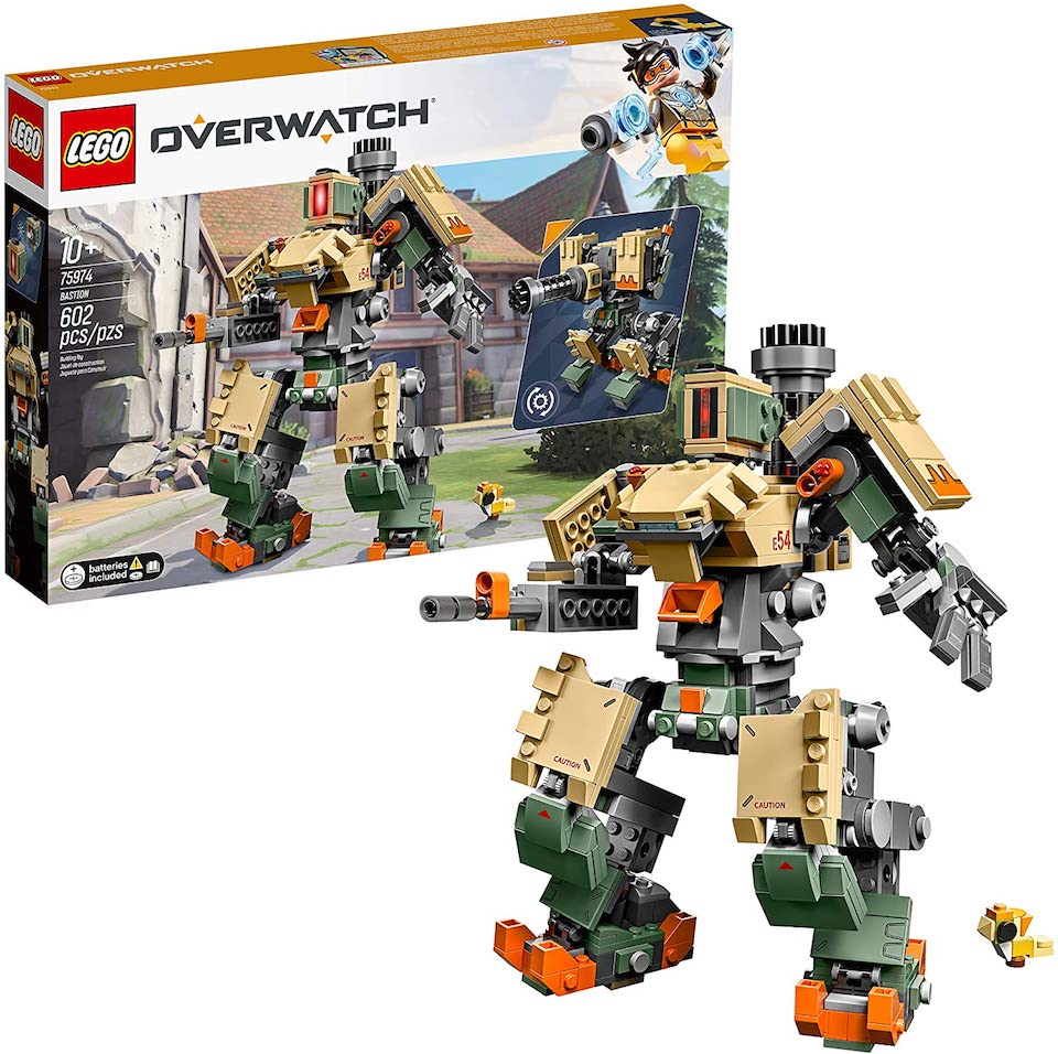LEGO Overwatch robot in front of box