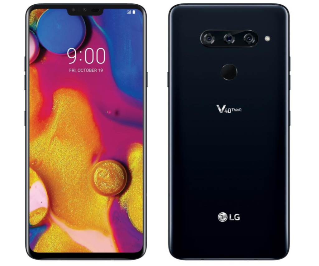 LG V40 ThinQ smartphone front back