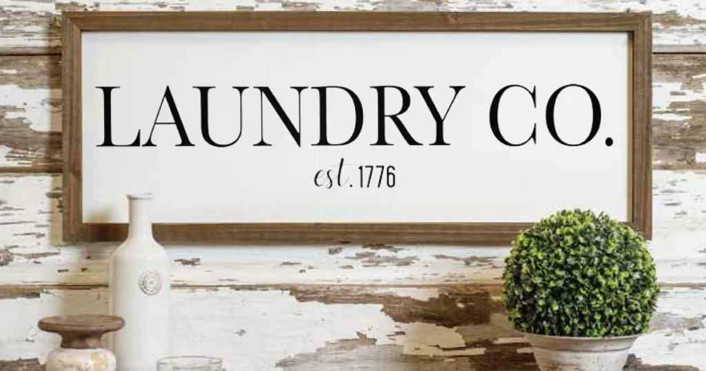 Laundry Farmhouse Sign on rustic wall