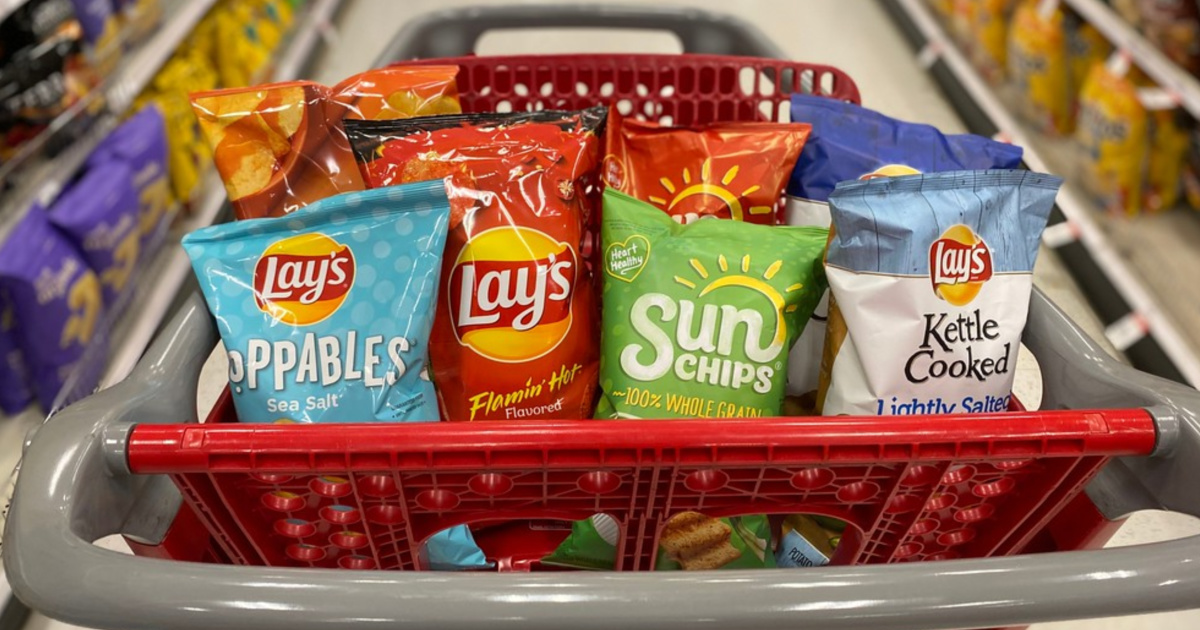 Bags of chips in shopping cart