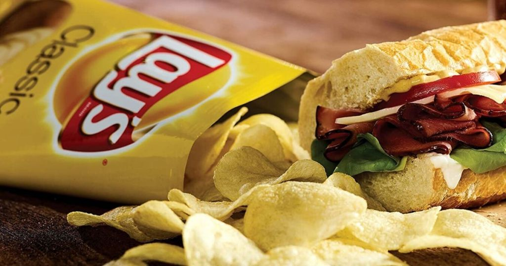Lay's Potato Chips on with chips spilling out next to grinder roll