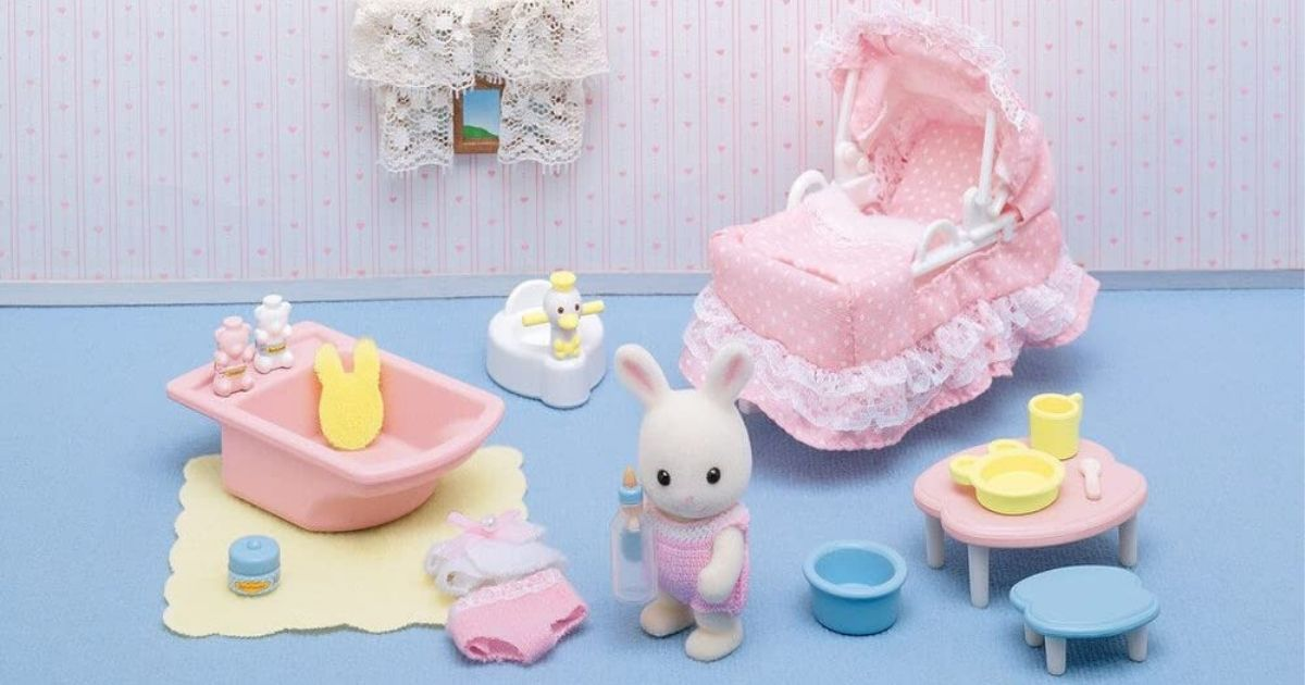 little playset with bunny figure and nursery accessories