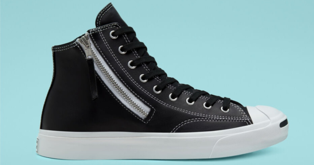 black Leather Side Zip Jack Purcell