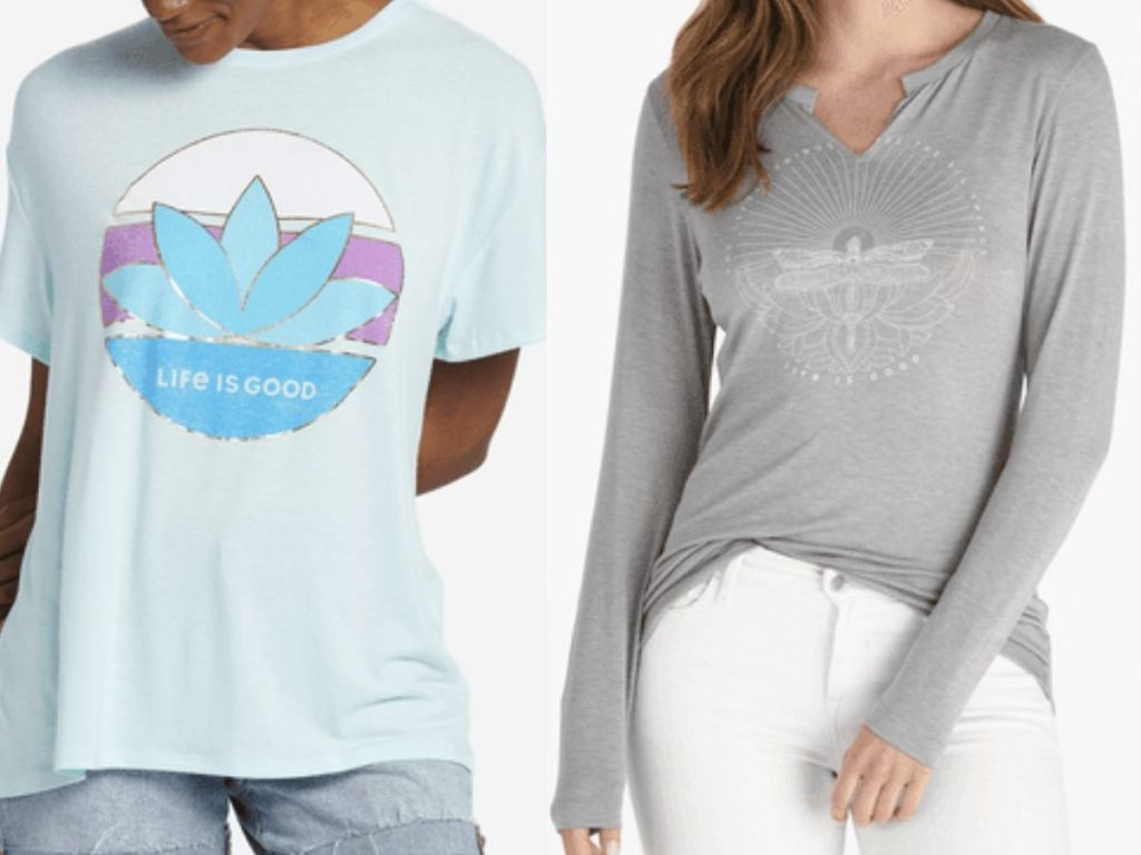 two womens torsos modeling a short sleeve and a long sleeve cotton t-shirts