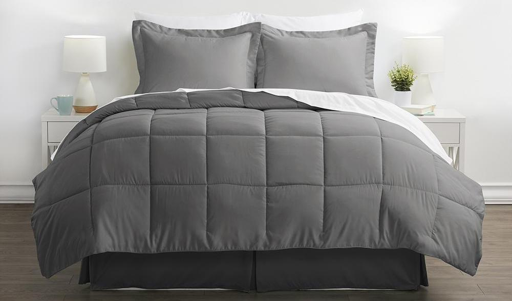 bed with grey bedding