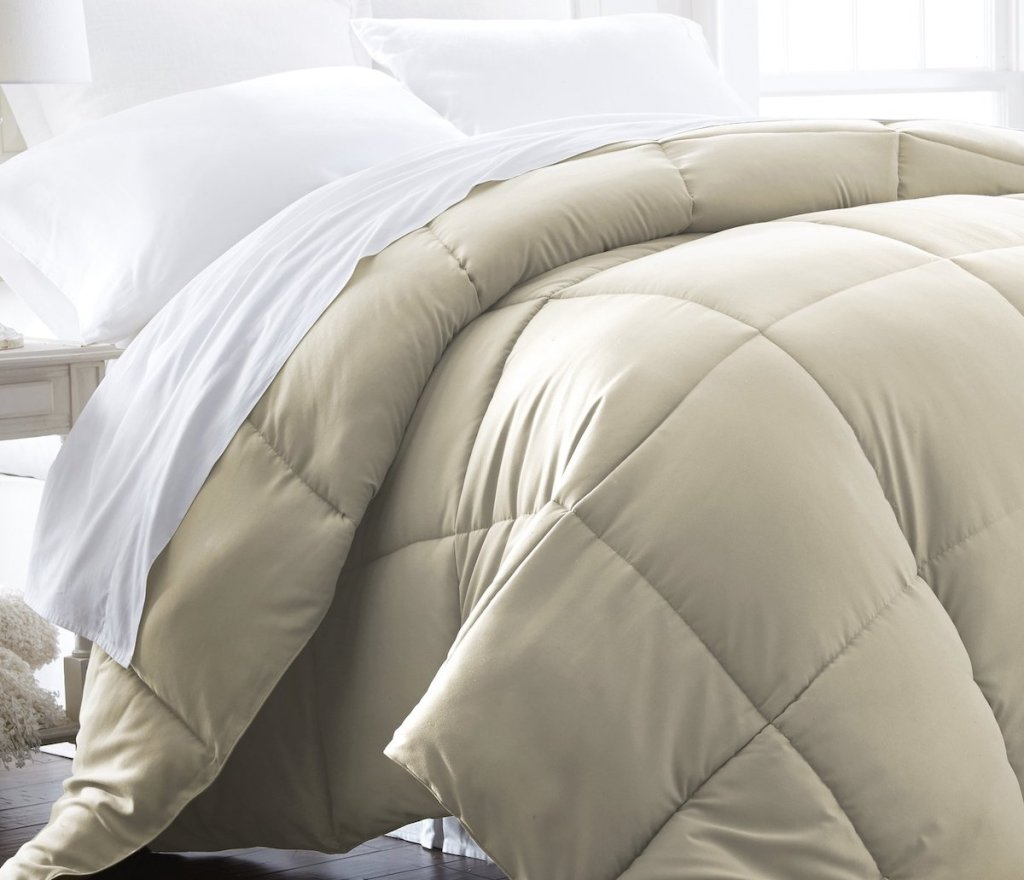 bed with a comforter on it
