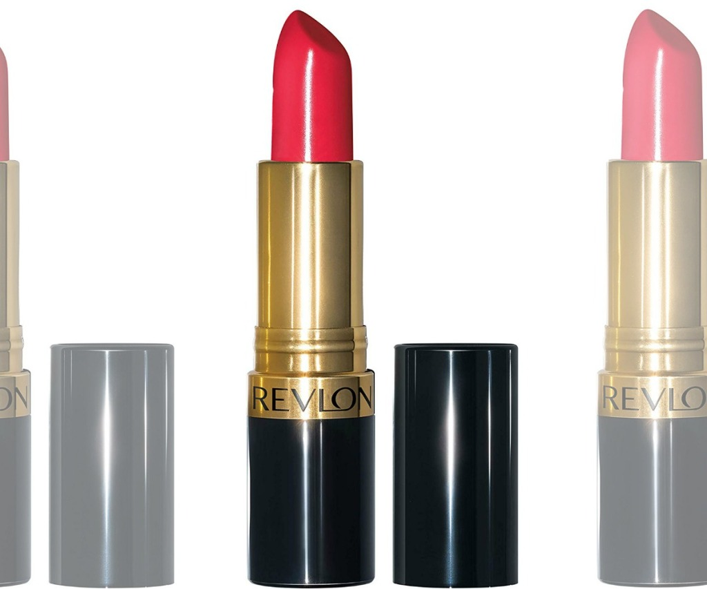 Tube of red colored lipstick with cap off
