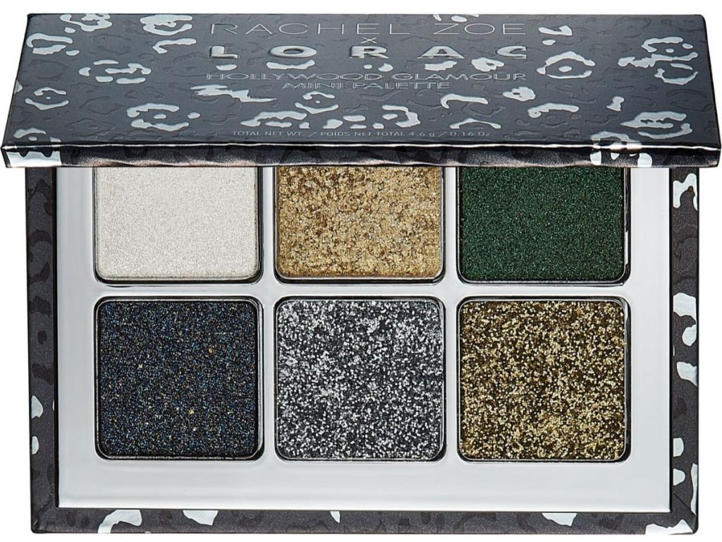 mini eyeshadow palette with 6 sparkly eyeshadows