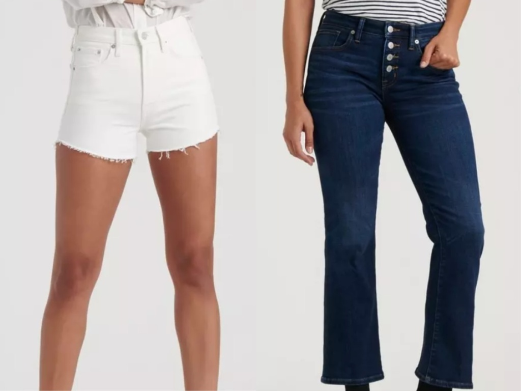 Women wearing Lucky Brand shorts and jeans