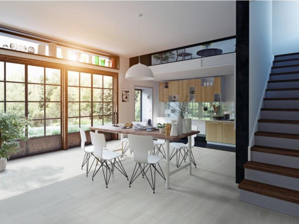 white vinyl flooring in kitchen