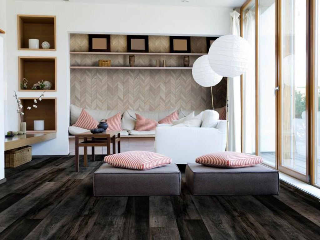 black vinyl flooring in living room