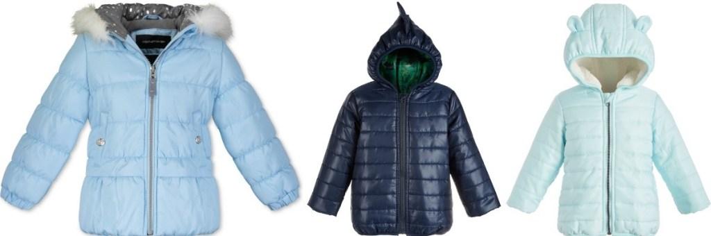 three kids puffer jackets