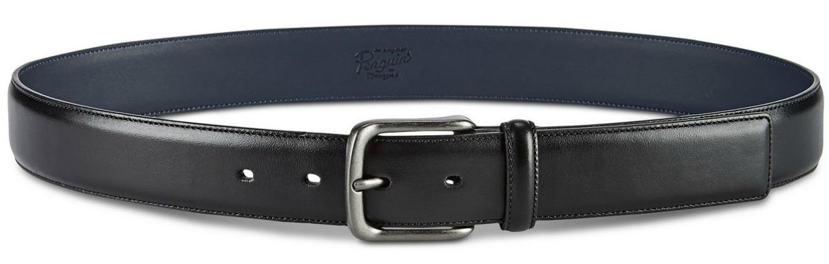 Large black leather men's belt
